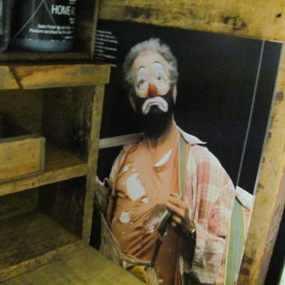 A picture of Bardo the clown tucked into the paint box. Read more about Bardo: http://fromvictoryroad.com/2013/06/21/fun-find-bardos-paint-box/