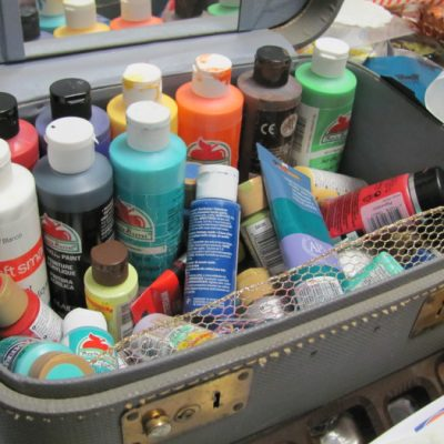 This train case is just right for my paint bottles.