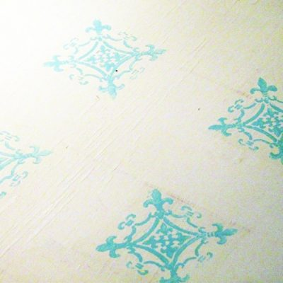 "stenciled floor in my ""inspiration nook"""