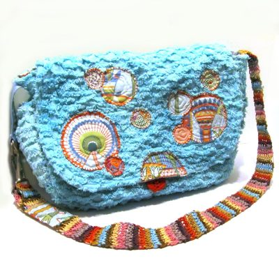 Diaper bag made from vintage chenille bedspread hand dyed a vivid turquoise