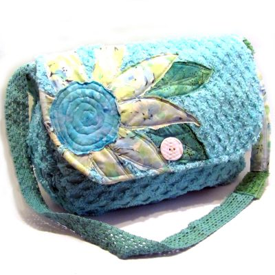 Diaper bag from dyed vintage chenille bedspread, appliqued and lined with a vvinate sheet