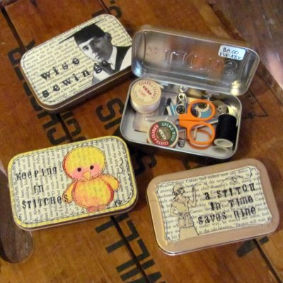 Altoid tins turned into sewing kits.