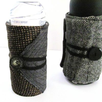 Water bottle cozy made from repurposed men's suits.  Cover feature of GreenCraft Magazine.