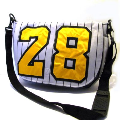 Messenger bag made from Baseball uniform. Featured in Haute Handbags Magazine.