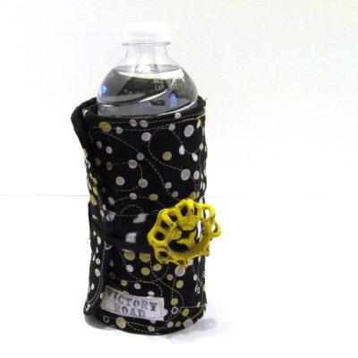 Water bottle cozy with an elastic strap and valve handle
