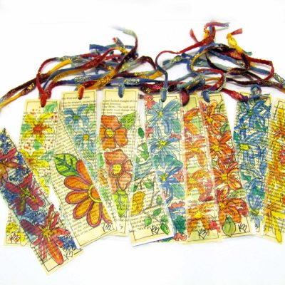 Bookmarks from hand painted and laminated book pages.