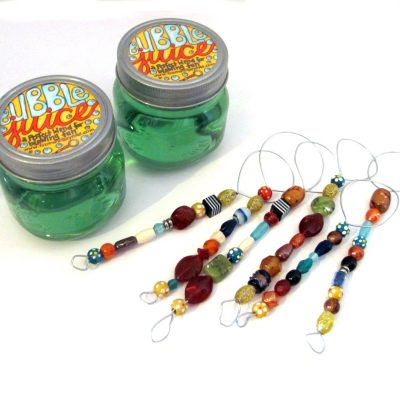 "Beaded bubble wands and bubble ""juice"""