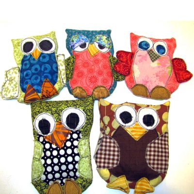 Rice pack owls.  Heat in the microwave for 15-20 seconds to use as a hot pack on aches and pains, or keep in the freezer ready to treat your child's bumps and bruises!