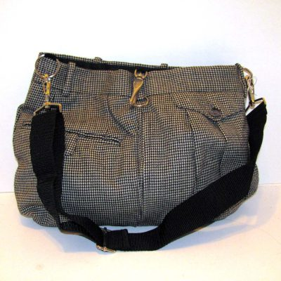 Purse made from a man's pair of suitpants