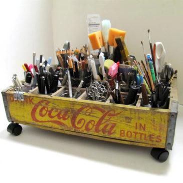 Wheeled Coke Crate Organizer