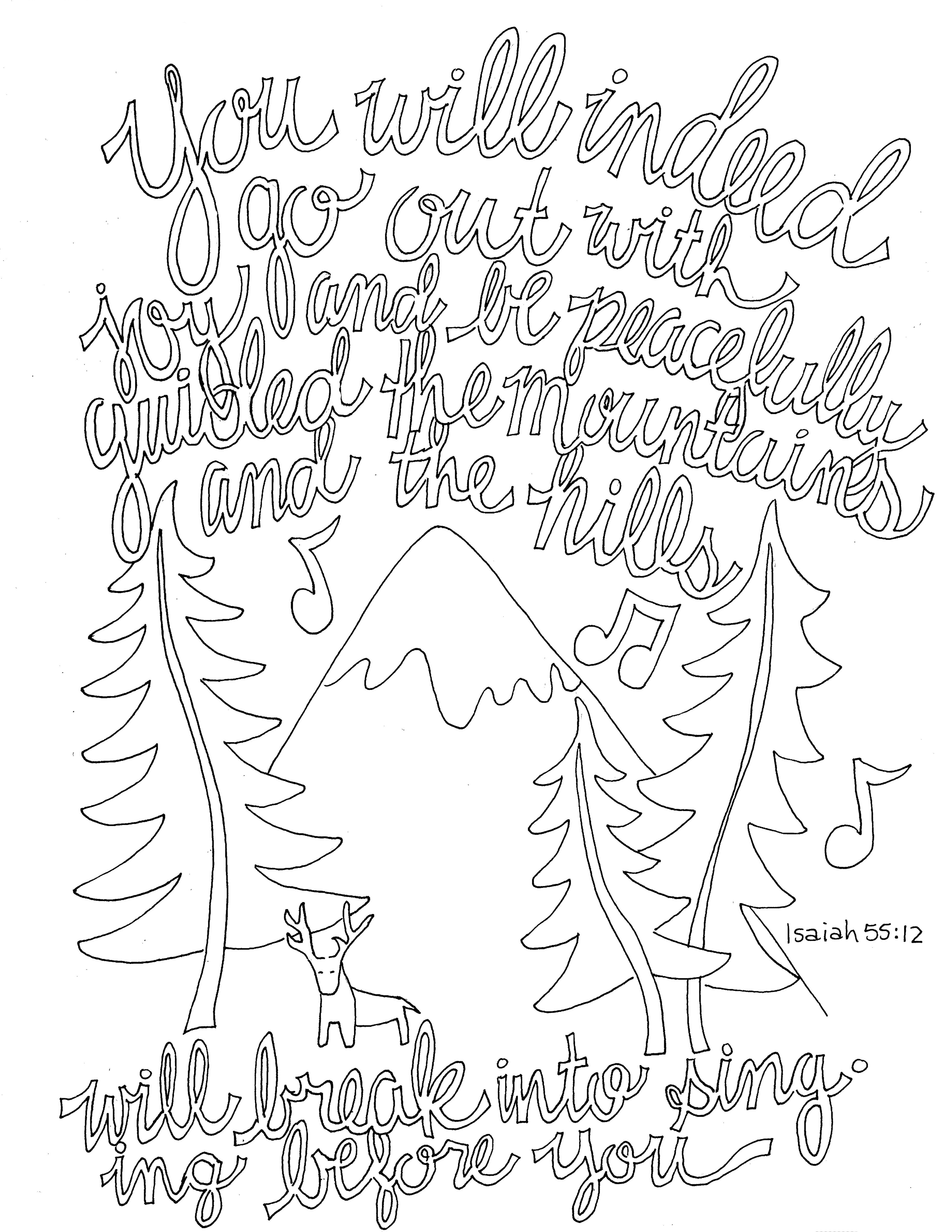 Isaiah 55 12 Coloring Page From Victory Road
