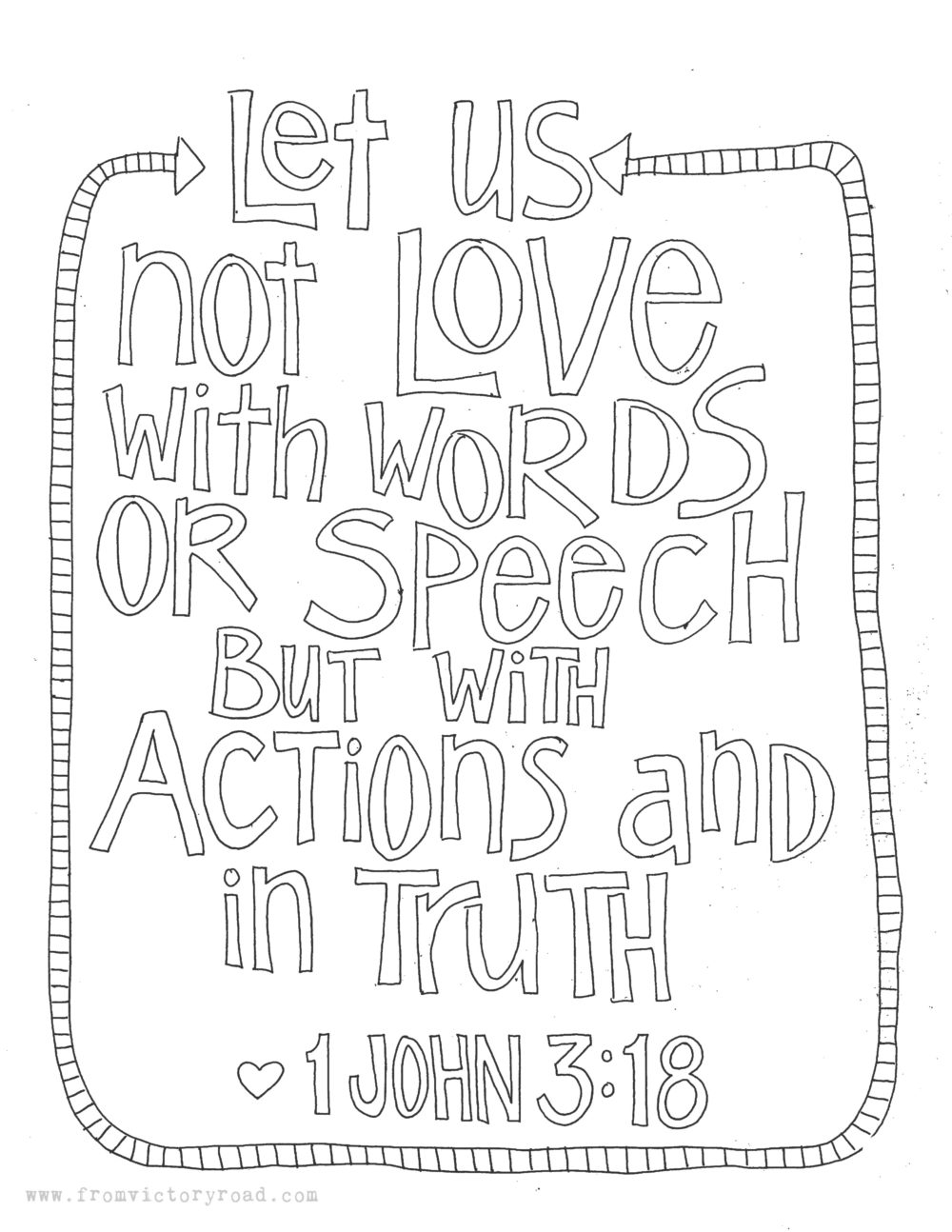1 John 3:18 Coloring Page – From Victory Road