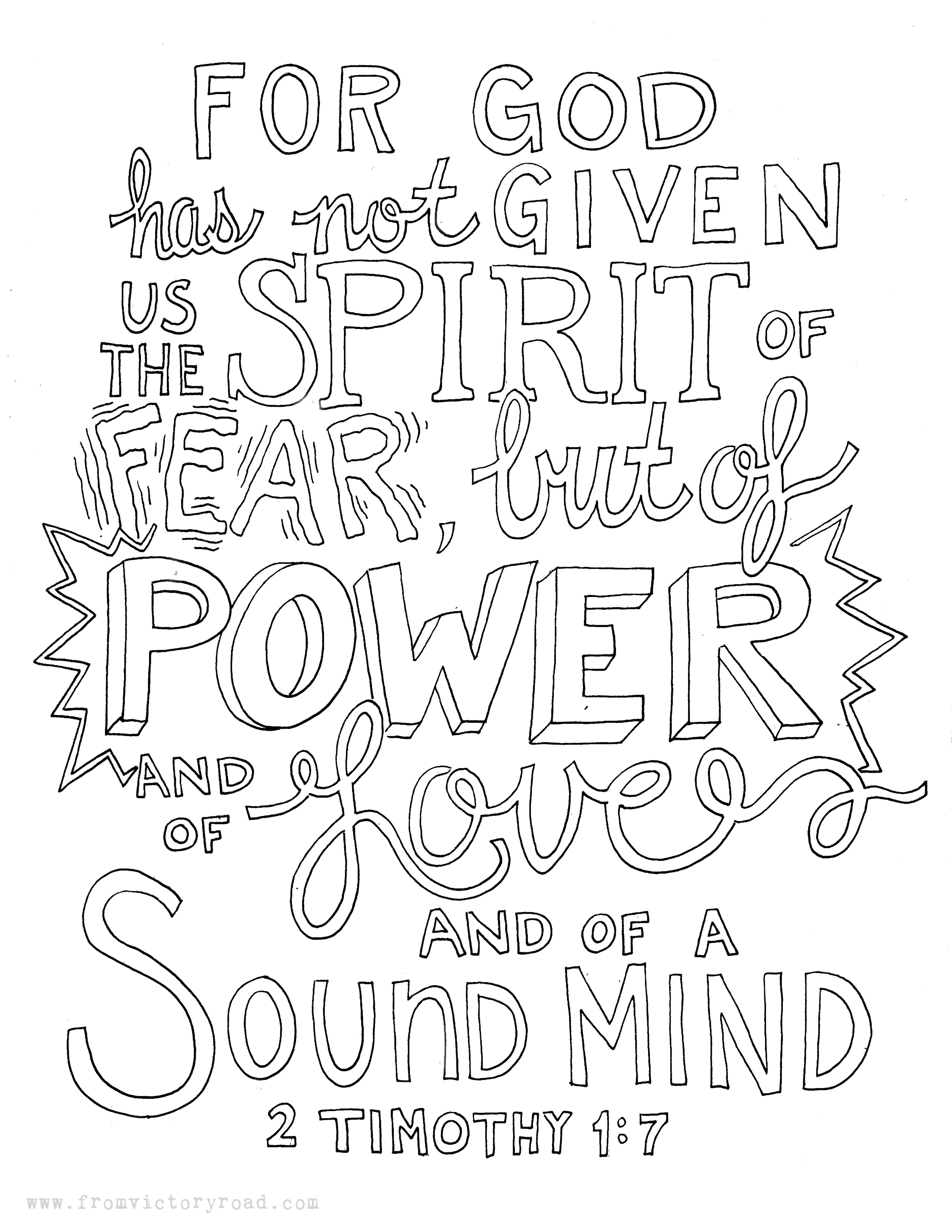 2 Timothy 1 7 Coloring Page From Victory Road