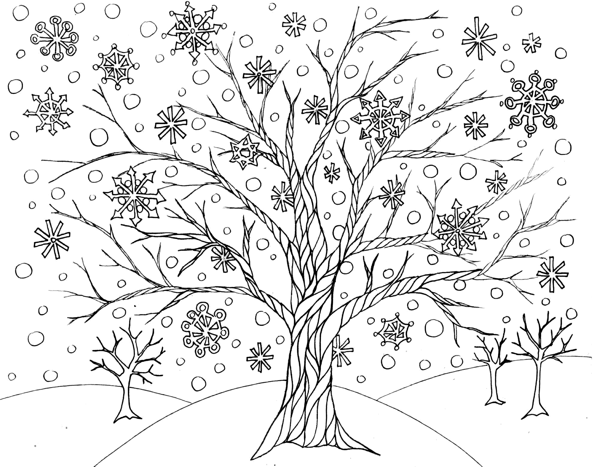 Free Winter Tree Coloring Page From Victory Road