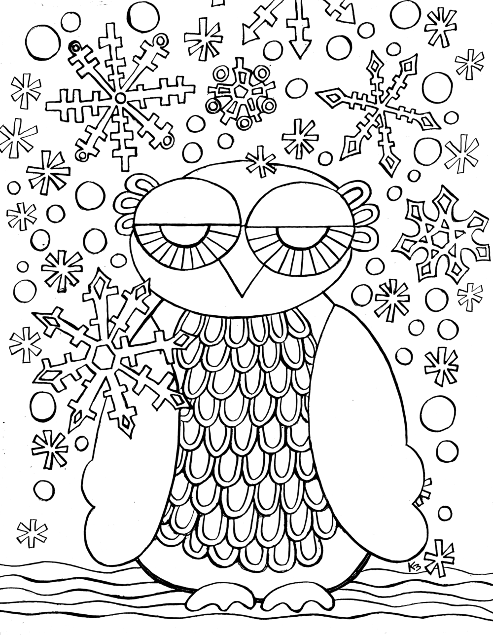 Free Winter Owl coloring page - From Victory Road